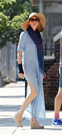 Anne Hathaway out and about walking her dog upper east side New York City on July 2, 2012