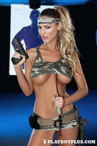 Playboy Cybergirl Charlie Riina at the shooting range