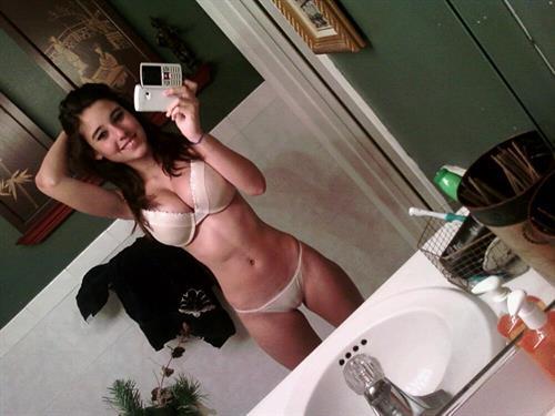 Angie Varona in lingerie taking a selfie