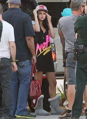 Selena Gomez, Vanessa Hudgens and Ashley Benson on the set of Spring Breakers on March 27, 2012