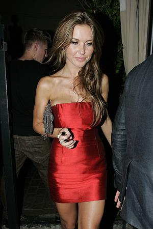 Audrina Patridge in a red dress at Bardot Night Club