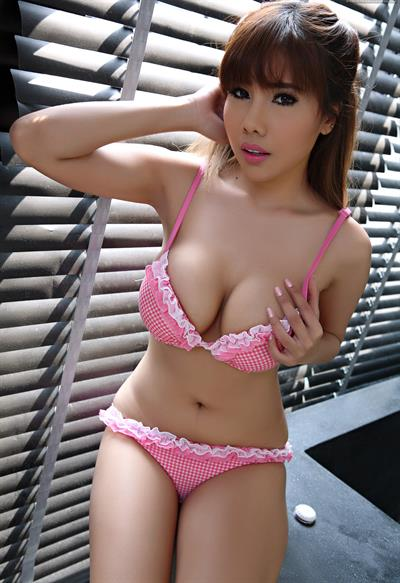 Aeko Jung in lingerie