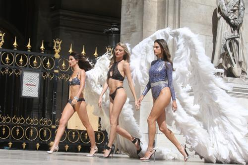 Battle of the Angels: Victoria's Secret's Lily Aldridge and Martha Hunt join Alessandra Ambrosio and Lais Ribeiro in very skimpy lingerie and wings to shoot new campaign in Paris.