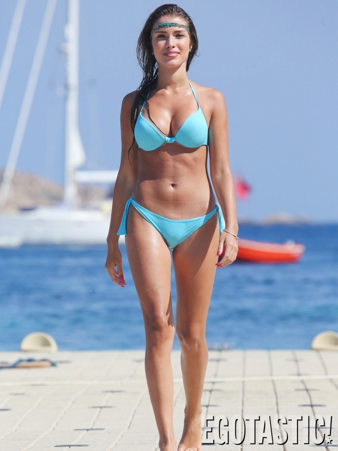 Catarina Sikiniotis shows off her blue bikini in Greece