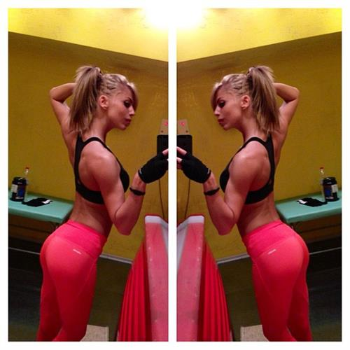 Yanita Yancheva in Yoga Pants taking a selfie