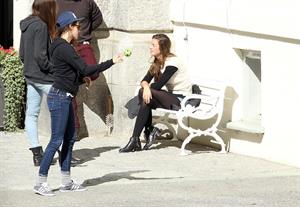 Kristen Stewart playing with a ball on the set of  Sils Maria  in Switzerland September 20, 2013