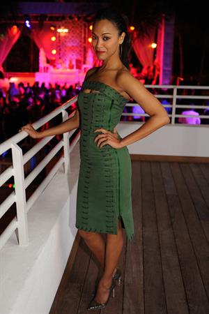 Zoe Saldana Hosts a New Year's Eve bash at James Royal Palm Hotel in Miami Beach December 31-2012