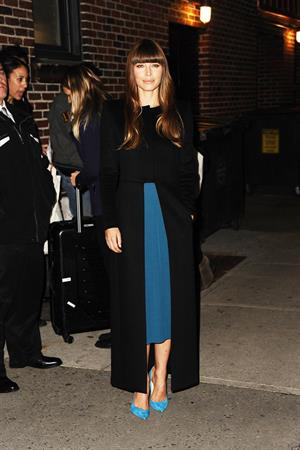 Jessica Biel Arrives for The Late Show With David Letterman in New York City (November 19, 2012)