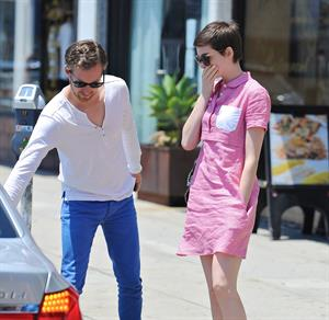 Anne Hathaway out about in Hollywood July 22, 2012