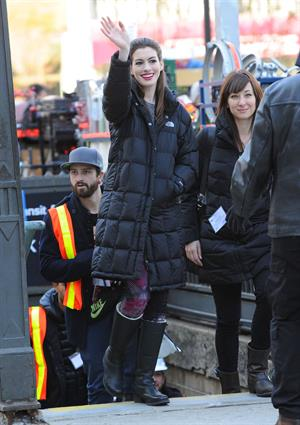 Anne Hathaway on the Dark Knight Rises set in New York City 4-11-2011