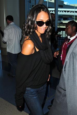 Zoe Saldana at LA Airport - February 20, 2010