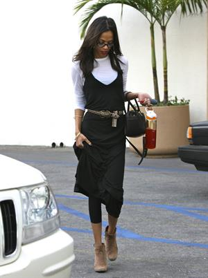 Zoe Saldana stops by an office building in Beverly Hills - January 14, 2012