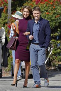 "Jessica Alba ""How to Make Love Like an Englishman"" set candids in Los Angeles, November 4, 2013"