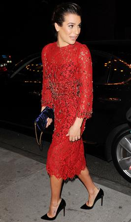 Lea Michele outside in a red dress at night