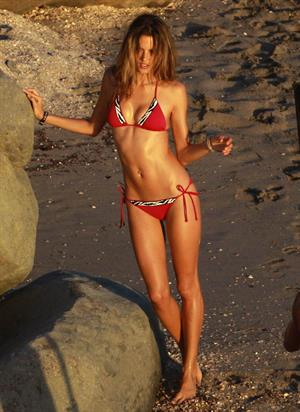 Alessandra Ambrosio photoshooting for Victoria's Secret on the beach in Saint Barthelemy