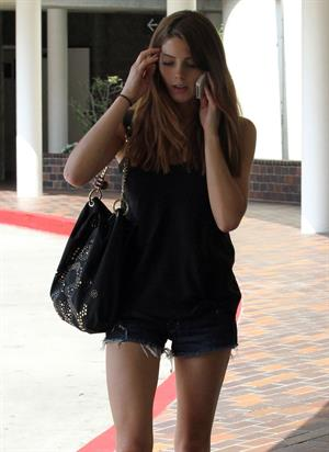 Ashley Greene in Shorts stopped by the hospital to visit a friend in Los Angeles, August 18  2012