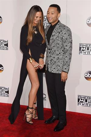 Chrissy Teigen wardrobe malfunction flashes at 2016 American Music