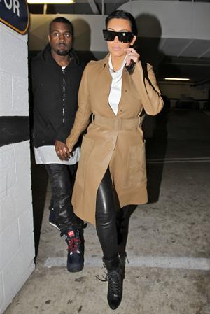 Kim Kardashian and Kanye West leave a medical building In Beverly Hills Dec 22, 2012