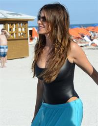 Sofia Vergara - beach candids in Miami 1/2/13