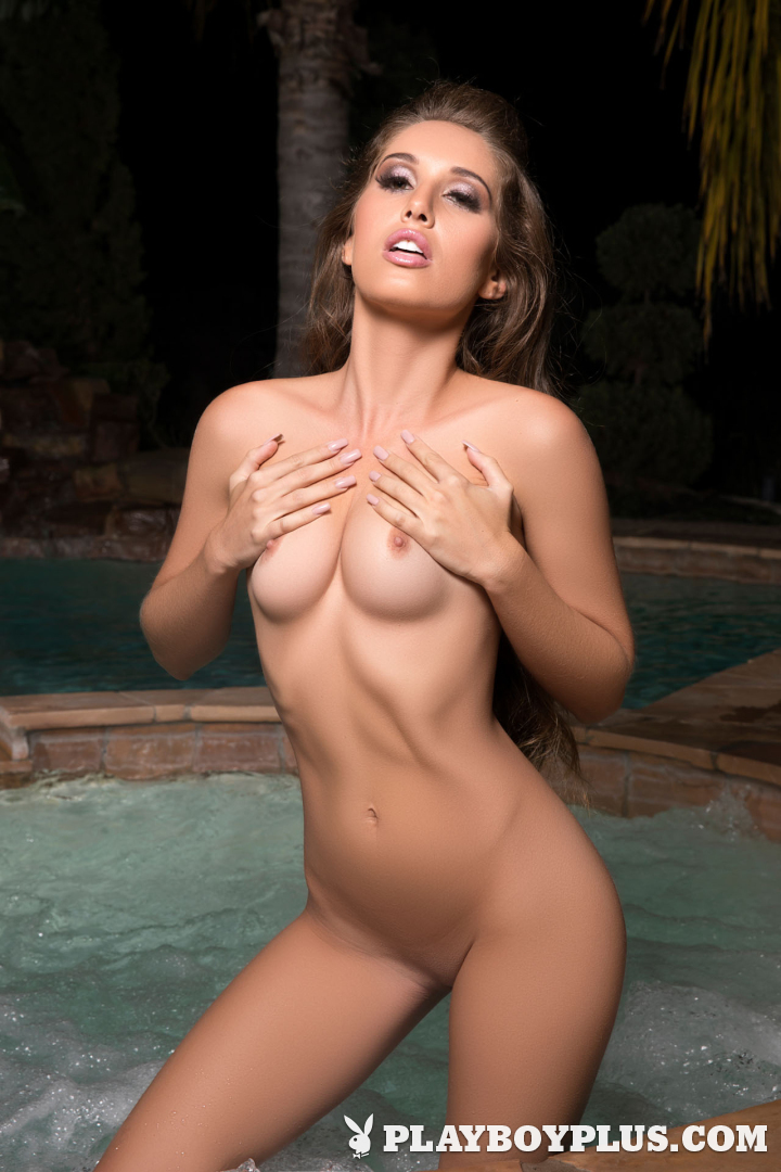 Playboy Cybergirl - Melissa Lori takes off her pink bathing suit