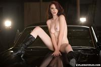 Playboy Cybergirl - Nico Faye poses nude with a classic car