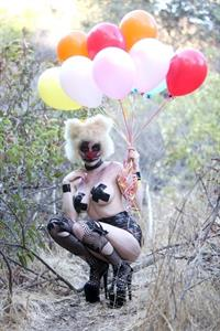Courtney Stodden as a topless evil clown