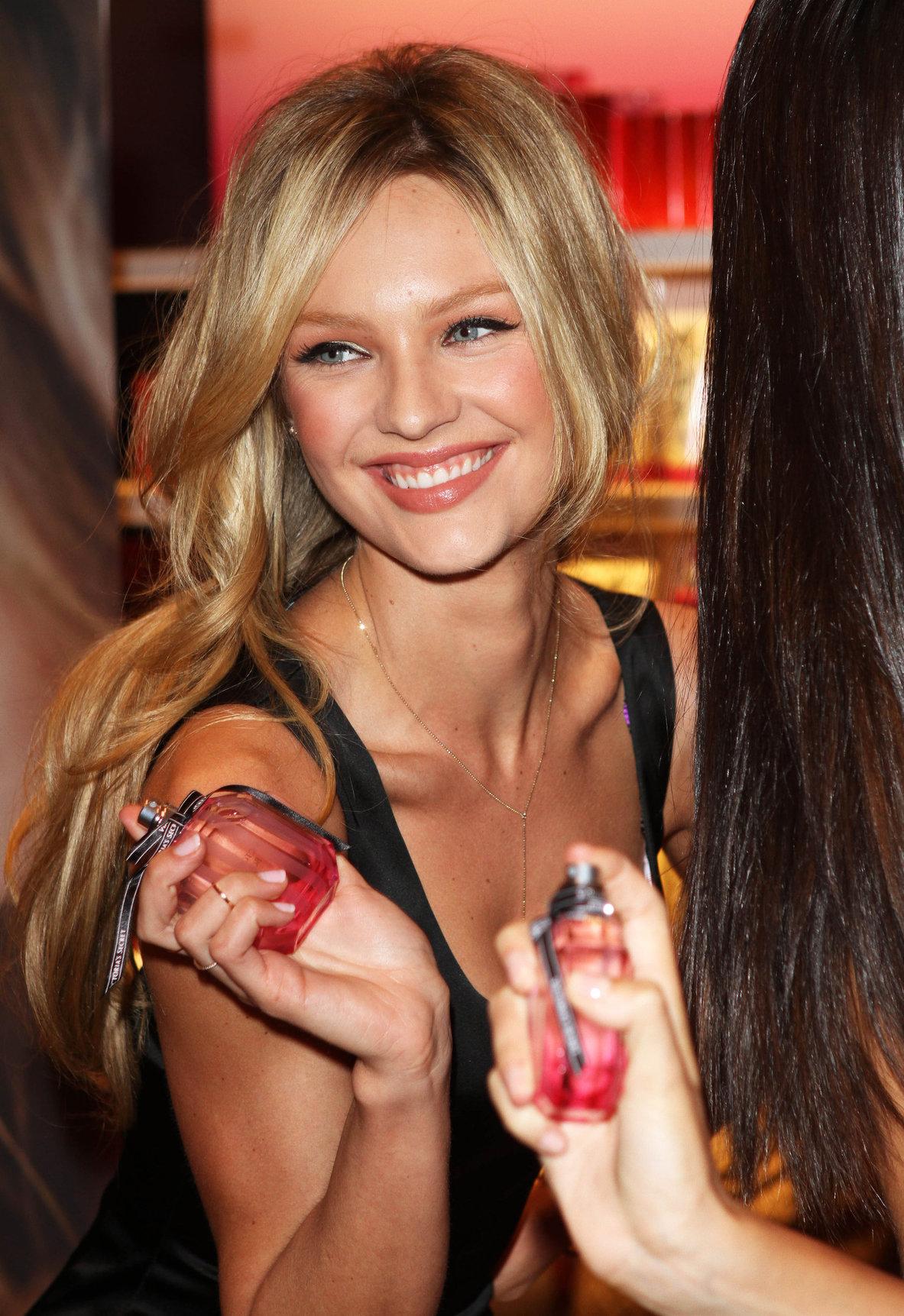 Candice Swanepoel promoting Victoria's Secret Bombshell
