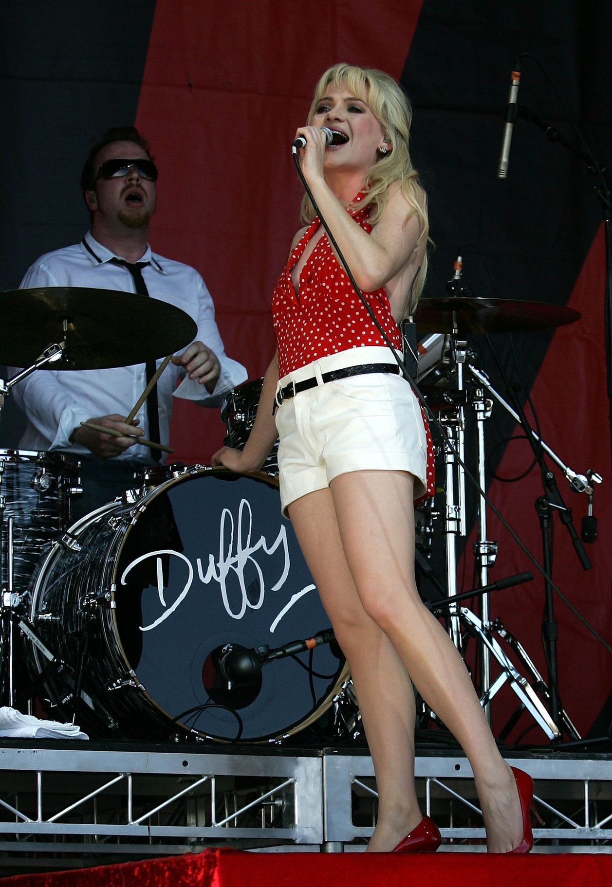 Aimee Anne duffy performing on stage during the 2009 V Festival on April 5, 2010
