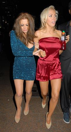 Aisleyne Wallace and Bianca Gascoigne leaving a club on March 15, 2011