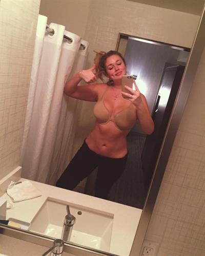 Hunter McGrady in lingerie taking a selfie