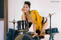 Meg Turney in a drummer outfit