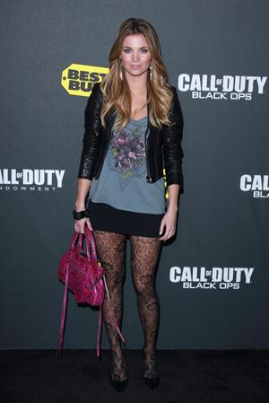 Amber Lancaster Activision's Call of Duty Black Ops launch party at Barker Hangar on November 4, 2010