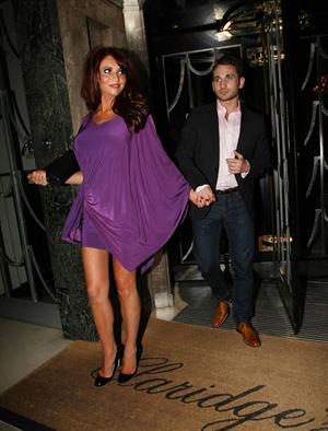 Amy Childs leaving Claridge Hotel Bar on April 2, 2011