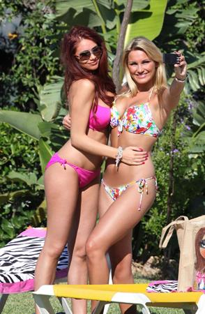 Amy Childs and Sam Faiers bikinis Marbella May 23, 2011