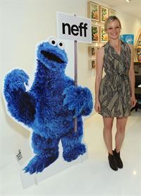 Amy Smart Neff Headwear 7th letter Sesame Street art exhibit on April 27, 2012