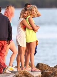 Ashley Benson and Hanessa Hudgens filming Spring Breakers Florida on March 12, 2012