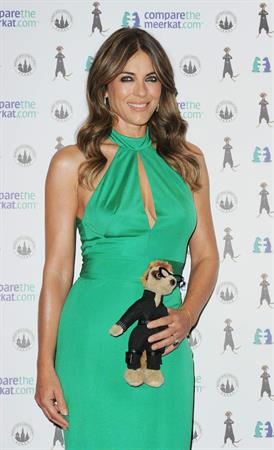 Elizabeth Hurley Photocall for the launch event for the special edition Agent Maiya toy for Comparethemarket.com