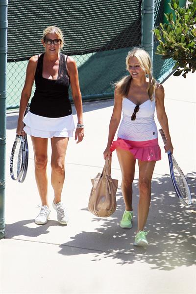 Heather Locklear - Playing with a pink dress Tennis in Malibu (Aug 1, 2012)