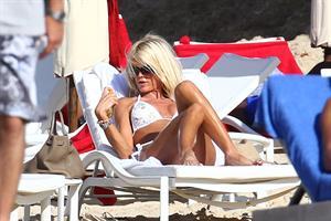 Victoria Silvstedt - white bikini in St. Barts 1/3/13