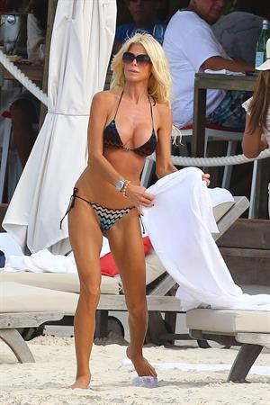Victoria Silvstedt in a bikini on the beach in St. Barts 1/5/13