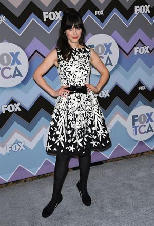 Zooey Deschanel American Idol panel during 2013 Winter TCA Tour in Pasadena January 8, 2013