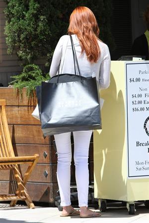 January Jones shops at Barneys New York in Beverly Hills on June 21, 2012