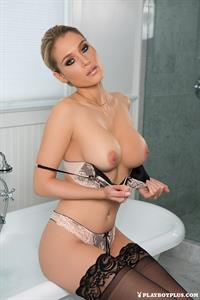 Anna Opsal takes a bath and shower for Playboy