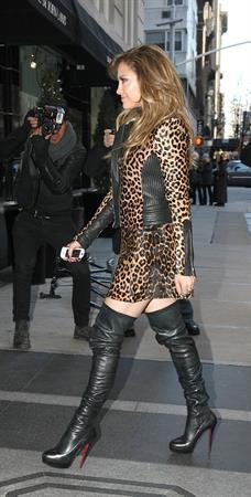 Jennifer Lopez Is seen wearing a sexy leopard print dress in NYC on January 22, 2013