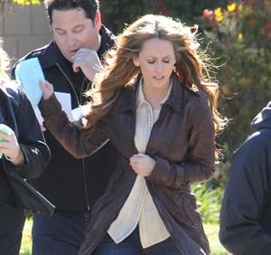 Jennifer Love Hewitt filming The Client List and really getting into character in between takes. January 10, 2013