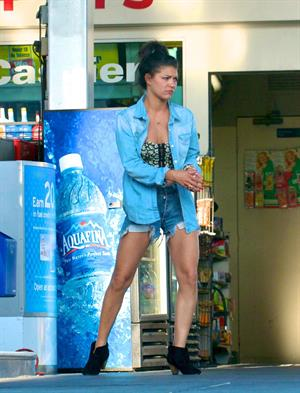 Jessica Szohr stops at the gas station in Los Angeles on April 10, 2012