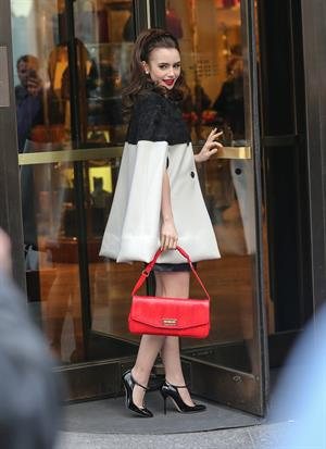 Lily Collins Outside the Bergdorf Goodman Store in NYC - April 4, 2013