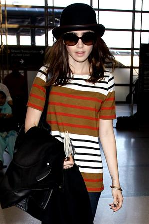 Lily Collins LAX airport in Los Angeles, March 4, 2013