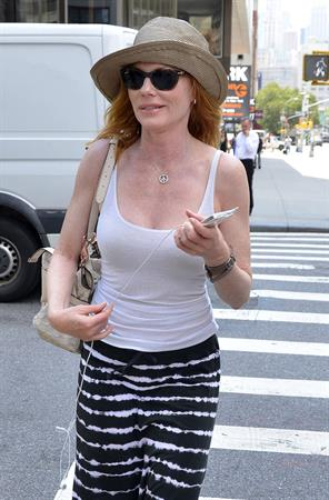 Marg Helgenberger arrives at a Soho hotel in New York City, USA on July 24, 2012