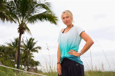 Maria Sharapova poses for a Photograph during a WTA all access Hour at the Ritz Carlton Hotel in Key Biscayne